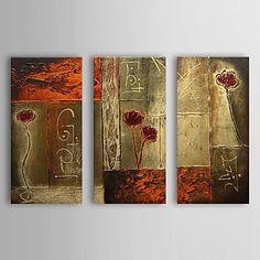 óleo pintada a mano de pintura de flores abstractas con juego de marco estirado de 3 1307-ab0412 – USD $ 119.99