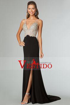 dbf329d1d61 Black Prom Dresses Sexy Sheath V-Neck Sweep Brush Beaded Bodice Zipper Back