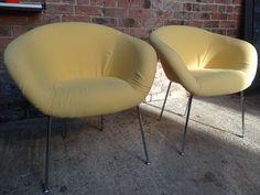 Herman Miller yellow fabric vintage chairs #designer #yellow #sunshine #60s #minimal #lessismore #tbt #furniturefindingservice #vintage #retro #euvintage
