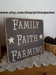 Family Faith Farming Distressed Finish Wood Sign by primsnposies, $25.00 Pallet Crafts, Pallet Art, Pallet Signs, Wood Crafts, Diy And Crafts, Pallet Beds, Barn Wood Projects, Craft Projects, Projects To Try