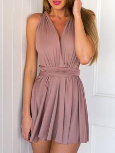 Sexy Pink Backless Romper with Halter Criss Cross Back