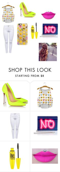"""""""NO"""" by michelle-jovanovic ❤ liked on Polyvore featuring Christian Louboutin, Lipsy, Jimmy Choo, Maybelline and Casetify"""