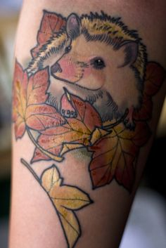 Hedgehog Tattoo...makes me want a Honey Badger tat...cause they dont care!! lol