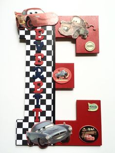 Items similar to Disney Cars Childrens Letter, Cars Child Custom Wall Decor, Personalized Disney Cars Lightning McQueen Custom Name, Baby Shower, Baby gift on Etsy Disney Cars Bedroom, Boys Car Bedroom, Car Themed Bedrooms, Boy Rooms, Disney Cars Party, Disney Cars Birthday, Cars Birthday Parties, Diy Letters, Wooden Letters
