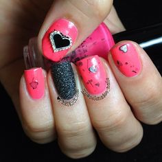 Pink with black hearts