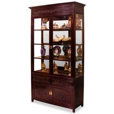 """40in Rosewood Flower & Bird Motif China Cabinet by ChinaFurnitureOnline. $1790.00. Lower: two drawers and a double door compartment. Hand-applied dark cherry finish. Upper: three adjustable shelves behind glass double doors, mirror back, halogen lights. Dimensions: 40""""W x 14""""D x 78""""H. Our elegant rosewood curio with hand-carved Flower & Bird motif is perfect for displaying your treasured collectibles. Museum quality mirror and halogen lighting bring out the beauty of art..."""