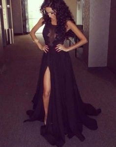 Black lace prom dresses long skirt