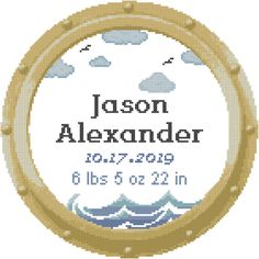 Excited to share this item from my shop: Ship Porthole Baby Birth Record Nautical Nursery Counted Cross Stitch Chart with Waves and Clouds Wedding Cross Stitch Patterns, Modern Cross Stitch, Counted Cross Stitch Patterns, Cross Stitch Designs, Nautical Baby Nursery, Birth Records, Baby Birth, Waves, Chart