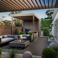 the outdoor fireplace, a design accessory for terrace with pergola - Backyard Landscaping Diy Pergola, Outdoor Pergola, Pergola Shade, Outdoor Decor, Pergola Ideas, Pergola Kits, Patio Ideas, Pergola Roof, Pergola Lighting