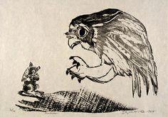 Predator by Elizabeth Olds / woodcut