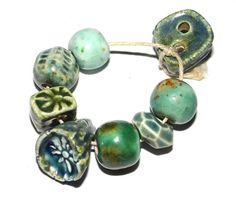 Ceramic Bead Set Handmade Stoneware Blue Green Organic by Grubbi