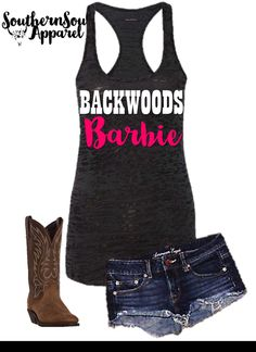 Backwoods Barbie Burnout Tank Top, Country Tank Top, Southern Tank Top, Country Shirt, Country Concert, Country Music by SouthernSoulApparel on Etsy (null)