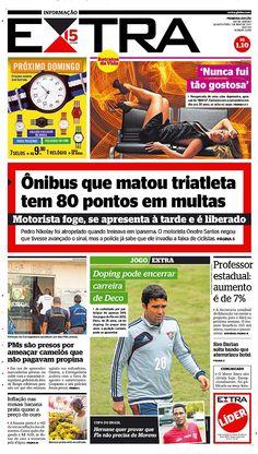 01-05-2013 - Capas do Jornal Extra - Primeira página do Jornal Extra do Rio