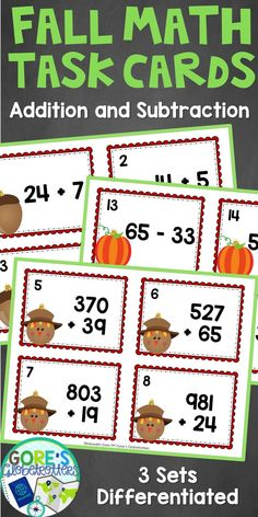 Working on addition and subtraction in your upper elementary math classroom? This resource is perfect for you! It includes three sets of differentiated task cards that you can use to help your students master their math skills. Perfect for math centers or early finishers in 3rd grade, 4th grade, and 5th grade math. Click through to grab yours now! #math #taskcards #upperelementary #3rdgrade #4thgrade #5thgrade #differentiation #TpT #Fall