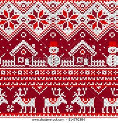 Christmas Seamless pattern with ornaments of a Jacquard knitting. Image of a house, snowman, moose, star, snowflake on a red background. Christmas Charts, Christmas Stocking Pattern, Knitted Christmas Stockings, Christmas Cross, Christmas Sweaters, Crochet Christmas, Fair Isle Knitting Patterns, Christmas Knitting Patterns, Knitting Charts