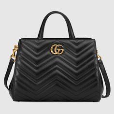 16441a0823fbaf GG Marmont matelassé top handle bag Gucci Purses, Gucci Bags, Burberry  Handbags, Macrame