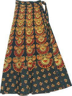 african skirt patterns to sew printable | ... Long Skirt With Ethnic Print, Block Print Designer Long Wrap Skirt