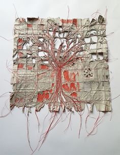tree of news Ines Seidel Inspired to do something similar on a scrapbook page or as a collage wall art piece. Art Fibres Textiles, Textile Fiber Art, Textile Artists, Embroidery Art, Machine Embroidery, Sculpture Textile, Fabric Manipulation, Fabric Art, Medium Art