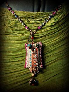 Bohemian gypsy vintage textile and bead necklace von quisnam