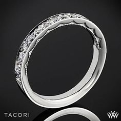 Tacori Sculpted Crescent Half Eternity Channel-Set Diamond Wedding Ring