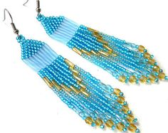 Blue and green beaded earrings Long beaded por HappyBeadwork