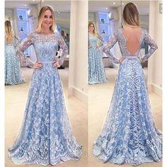 Mavi Uzun Dantel Elbise