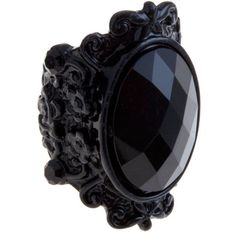 Black Gem Carved Gothic Ring ($7.95) found on Polyvore