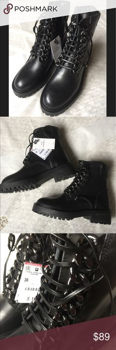 d6323166ed31 NWT ZARA BLACK CHAIN LEATHER MILITARY BOOTS Brand new with tags! New