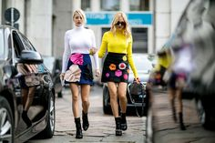 Double Crepe Mini Skirt With Hearts by MSGM (left)