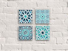 Doesn't this set by Etsy shop Mokami look stunning? The patterns are inspired by the mosaics in the Alhambra, the famous Moorish palace and fortress in Granada, Spain. The intense turquoise will bring light to any room.