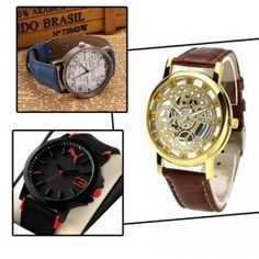 Newspapar Watch + Skeleton Watch + Puma Watch (Pack Of 3)