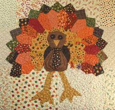 pattern for turkey table runner | Thanksgiving turkey applique block, free pattern by Kimara at Wee Folk ...