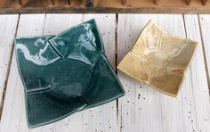 Set 2 ciotole incrocio / porcelain bowls / porcelain ashtrays / posaceneri in porcellana / blue and vanilla di QBceramics su Etsy
