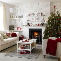 Classic white and red Christmas decoration. Very simple yet pleasing to the eye. You can add more interest to this design by cutting out words that form merry Christmas and hanging them above your fireplace.