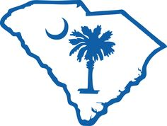Image Detail for - South Carolina Outline w/ Palmetto and Moon (SOSC1-4)