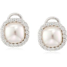 Majorica Sterling Silver Mabe Pearl, and Cubic Zirconia Earrings ($128) ❤ liked on Polyvore featuring jewelry, earrings, cz stud earrings, white pearl stud earrings, sterling silver earrings, cubic zirconia jewelry and cz earrings