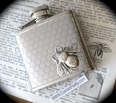 Small Bee Flask Honeycomb Hexagons Silver Pocket Flask Gothic Victorian Steampunk Vintage Inspired Reproduction by CosmicFirefly on Etsy https://www.etsy.com/listing/75636501/small-bee-flask-honeycomb-hexagons
