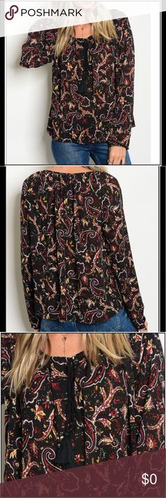 "🔜COMING SOON! Paisley Peasant Top Long sleeve round neckline printed chiffon blouse 100% POLYESTER L: 27"" B: 40"" W: 40"" Boutique Tops Blouses"