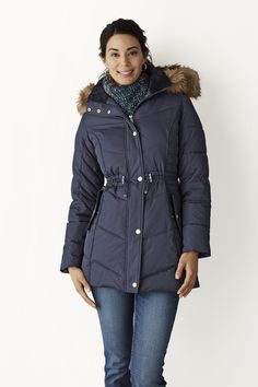 8ce4b33290f A chic faux fur-trimmed hood and adjustable waist lend feminine flair to  our winter-weather anorak puffer jacket.