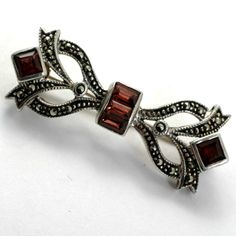 Sterling Silver Marcasite and Garnet Pin Victorian Revival
