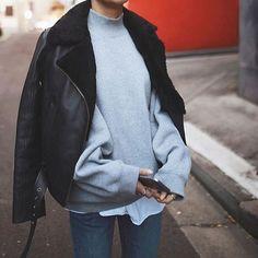 Sweater: tumblr grey sweatshirt black leather jacket leather jacket black jacket jacket coat