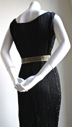 1920's MARIANO FORTUNY pleated black silk DELPHOS gown | From a collection of rare vintage evening dresses at http://www.1stdibs.com/fashion/clothing/evening-dresses/