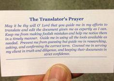 The Translator's Prayer