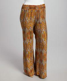 Look what I found on #zulily! Mustard Orange Zigzag Palazzo Pants - Plus #zulilyfinds