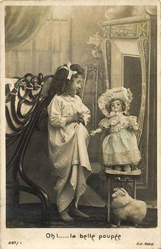 "vintage french postcard ""oh. the beautiful doll"""