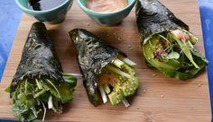 Nori Sushi Burrito Rolls {on MindBodyGreen} Nori Sushi, Vegan Sushi, Vegan Vegetarian, Vegetarian Recipes, Vegan Meals, Raw Food Recipes, Asian Recipes, Cooking Recipes, Sushi Recipes