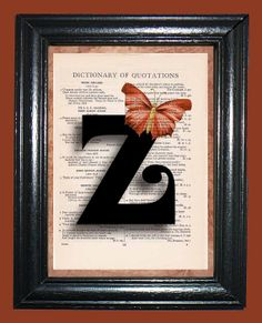 Curly Letter Z with Dark Orange Butterfly  Vintage by CocoPuffsArt, $9.99