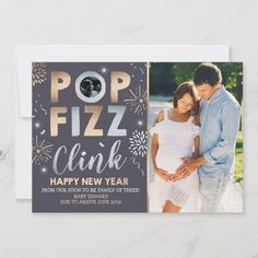 Shop New Year Pregnancy Announcement New Year Card created by PixelPerfectionParty. Holiday Photo Cards, Holiday Photos, Baby Pop, Family Of Three, New Year Card, Digital Image, Vintage Posters, Happy New Year, Announcement