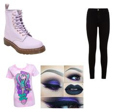 """Pastel goth #4"" by kyleigh-rodgers on Polyvore featuring Dr. Martens, 7 For All Mankind and Newbreed Girl"