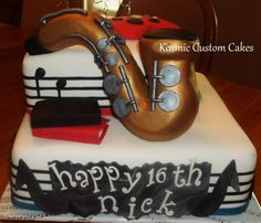 Music Themed Sweet Sixteen Birthday Cake for Boy -- Music or Rockstar Theme Perfect for a Guy's Sixteenth Birthday Party